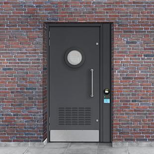 Door with Contactless Card Reader Built In